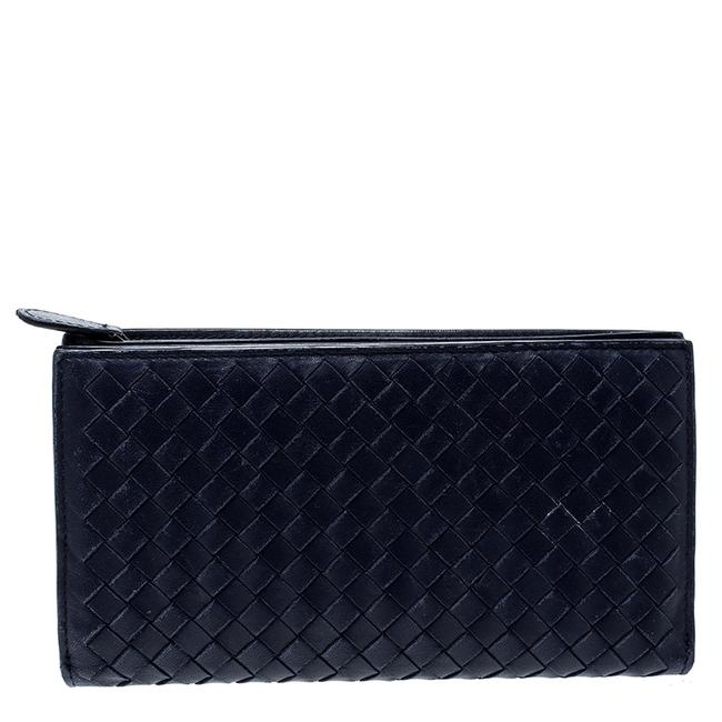 Item - Blue Intrecciato Leather Trifold Continental Wallet