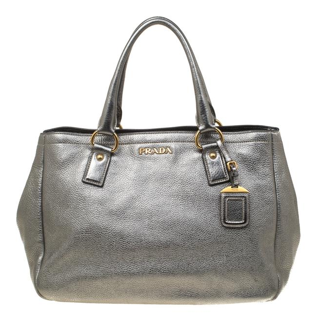 Item - Silver Leather Shopper Tote