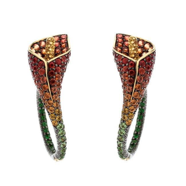 Item - Lily Multicolor Gemstone 18k Yellow Gold Statement Hoop Earrings Jewelry