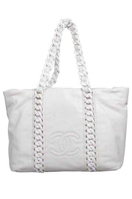 Item - White Leather Modern Chain Rhodoid Tote