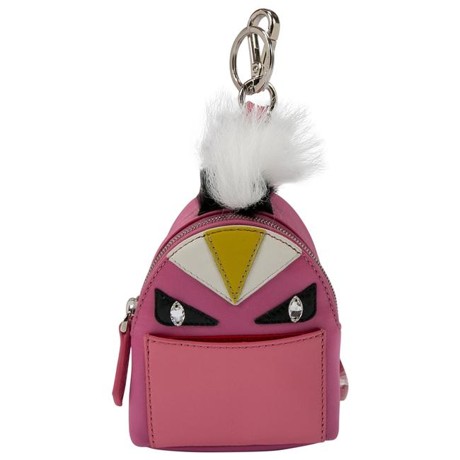 Item - Backpack Pink Nylon and Leather Monster Charm Jewelry