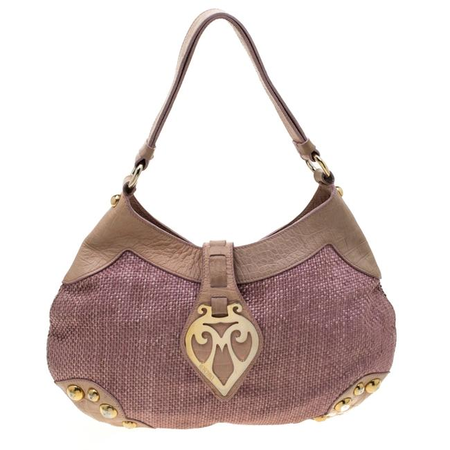 Item - Pink/Beige Jute and Leather Hobo Bag