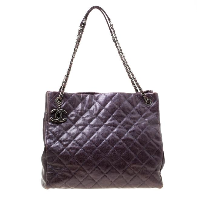 Item - Burgundy Quilted Caviar Leather Tote