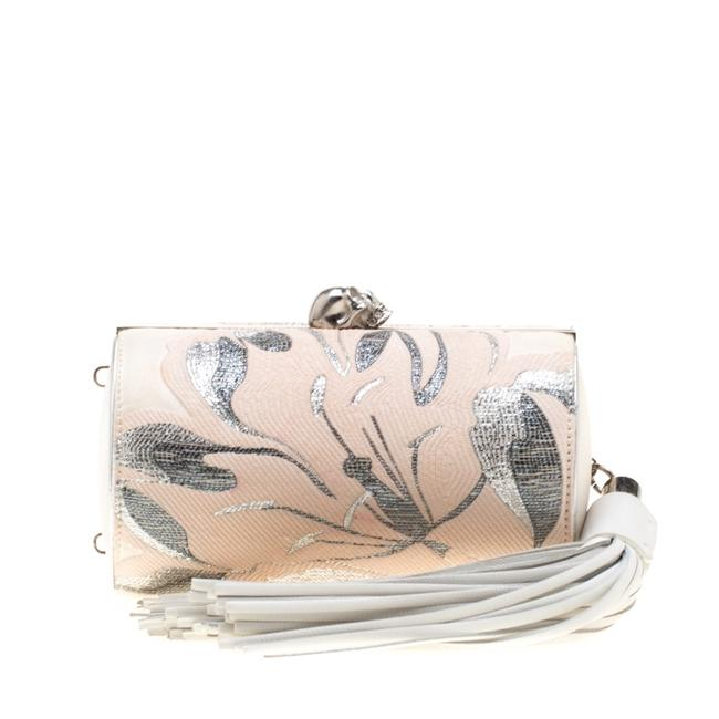 Item - Cream Floral Satin North South Chain Clutch