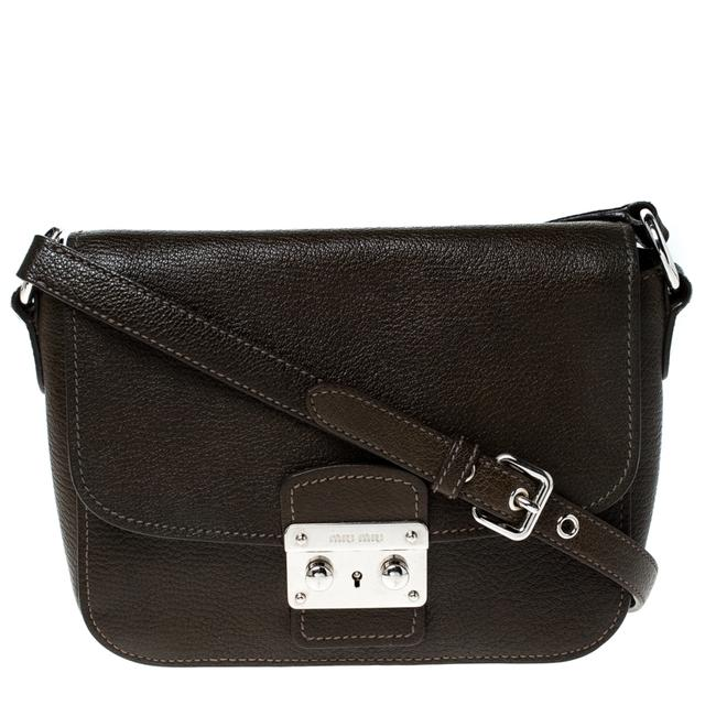 Item - Crossbody Dark Green Leather Pushlock Shoulder Bag