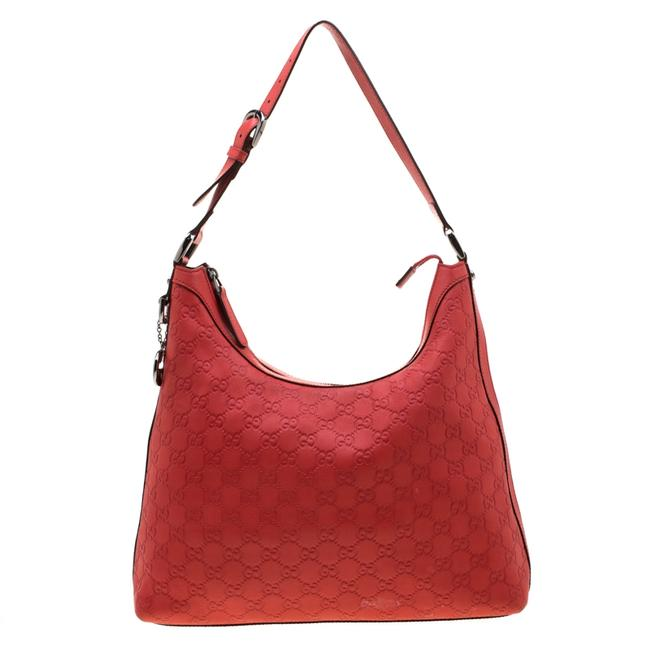 Item - Red ssima Leather Charm Hobo Bag