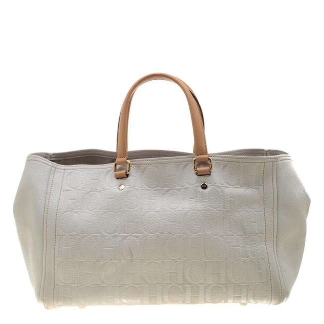 CH Carolina Herrera White/Beige Monogram Embossed Leather Tote CH Carolina Herrera White/Beige Monogram Embossed Leather Tote Image 1