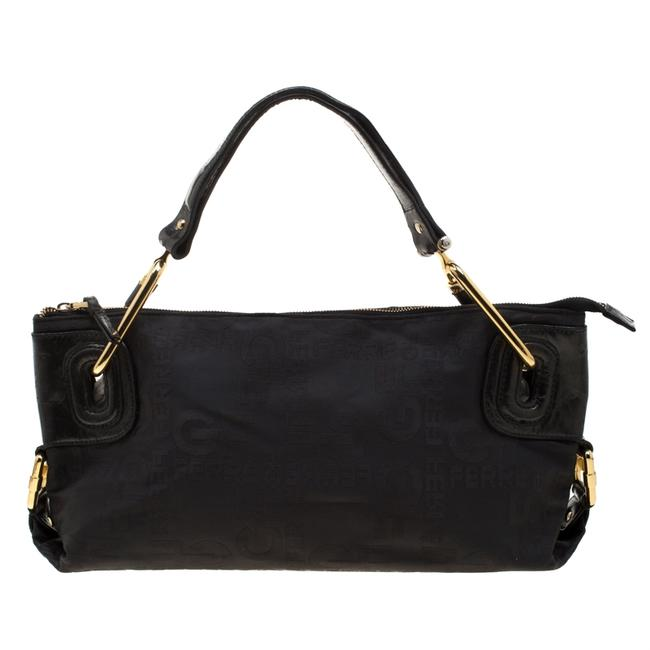 Item - Black Nylon and Leather Buckle Shoulder Bag