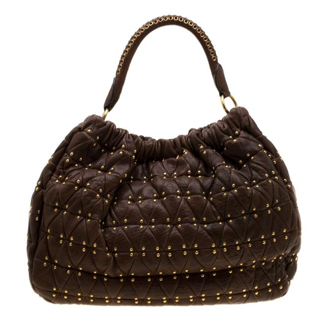 Item - Brown Quilted Leather Studded Hobo Bag
