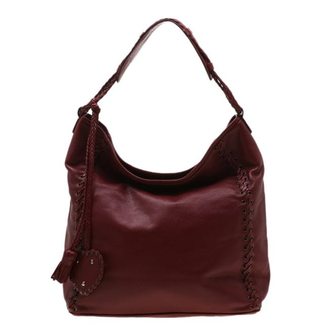 Item - Red Leather Ethnic Hobo Bag