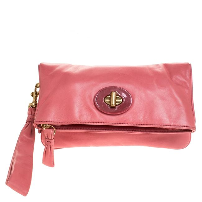 Item - Coral Pink Leather Foldover Wristlet Clutch
