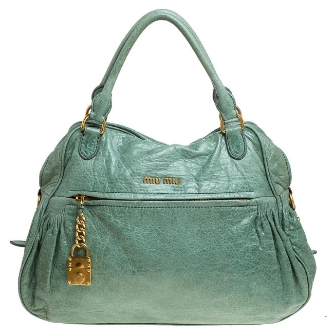 Item - Mint Green Leather Lily Distressed Satchel