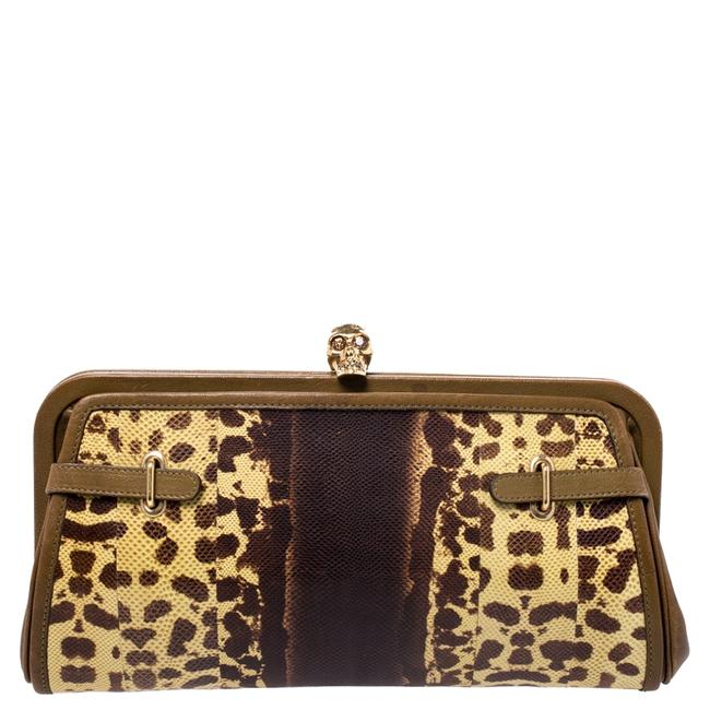 Item - Brown Leather and Watersnake Reversible Skull Clutch