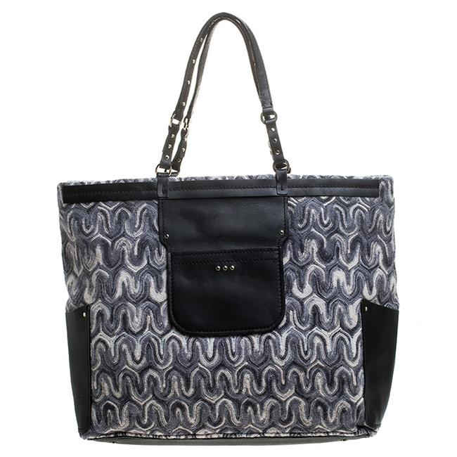 Item - Grey/Back Fabric and Leather Shopper Tote
