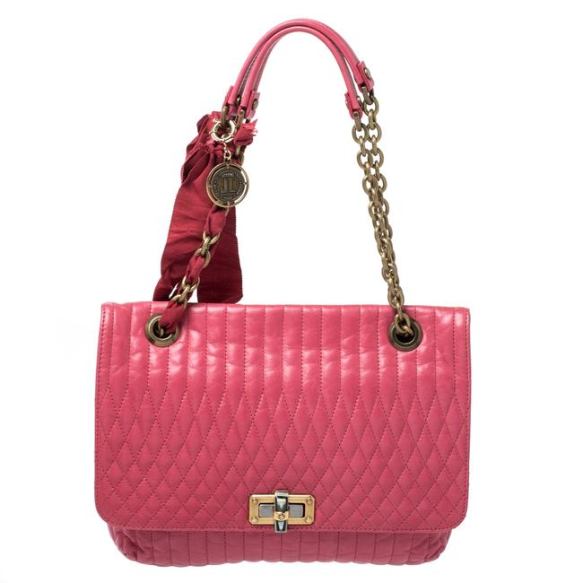 Item - Magenta Leather Happy Shoulder Bag