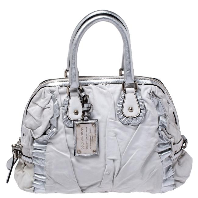 Item - Dolce & Gabbana Silver Leather Miss Rouche Distressed Satchel