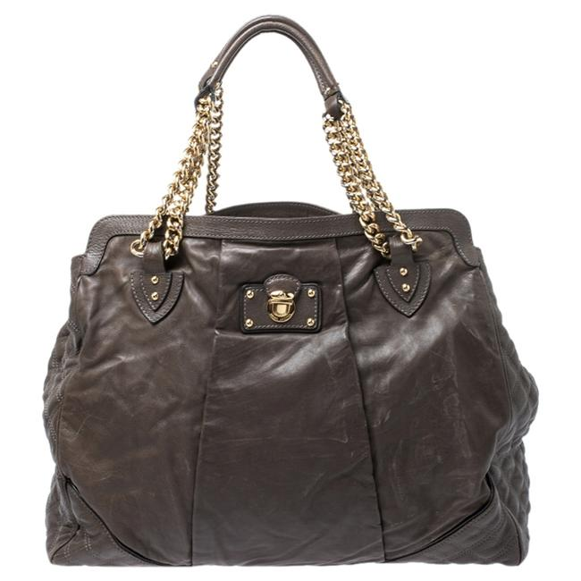 Item - Khaki Mix Quilted Leather Classic East-west Tote