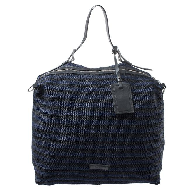 Item - Blue/Black Straw and Leather Hobo Bag