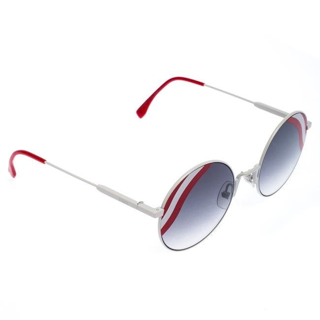 Item - White/Red Gradient Wave Round Sunglasses