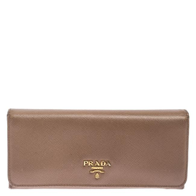 Item - Beige Saffiano Leather Continental Flap Wallet