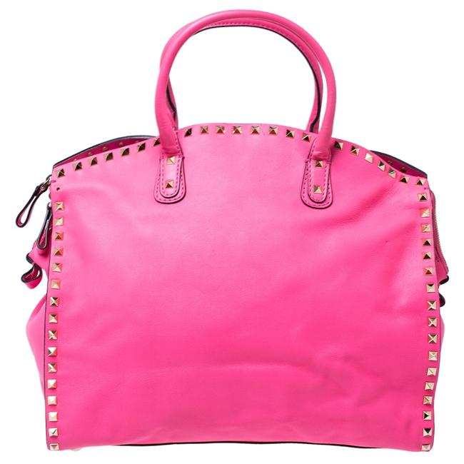 Item - Pink Rockstud Leather Satchel