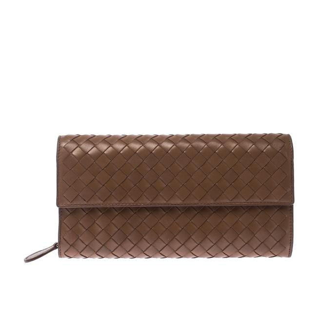 Item - Brown Intrecciato Leather Continental Flap Wallet