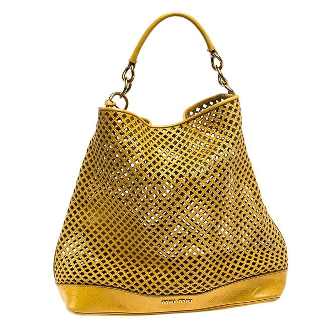 Item - Mustard Cut Out Leather Hobo Bag