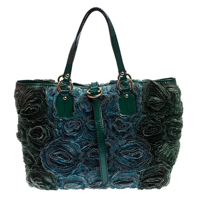 Item - Green Silk and Patent Leather Organza Rosier Tote