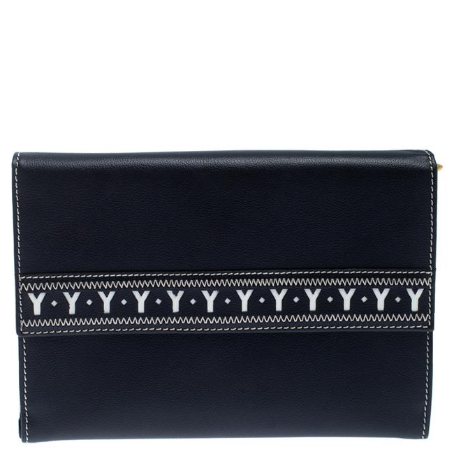 Item - Yves Navy Blue Leather Bifold Wallet