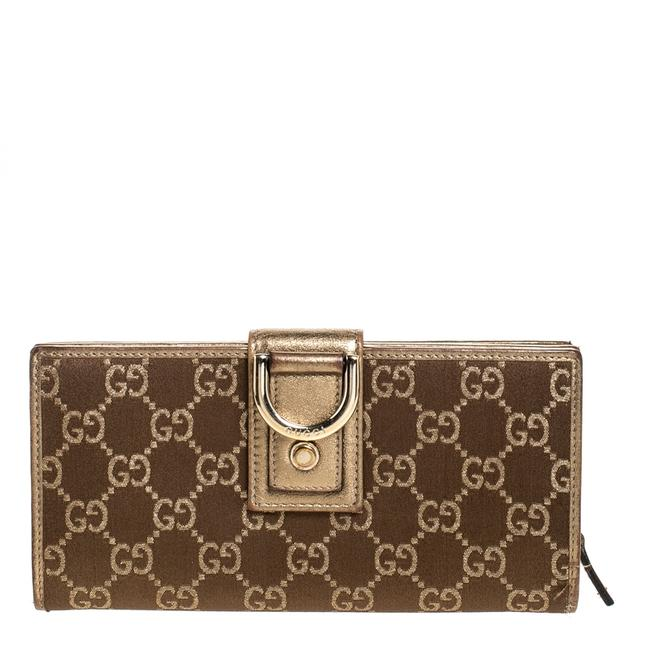 Item - Gold/Bronze Gg Canvas and Leather D Ring Continental Wallet