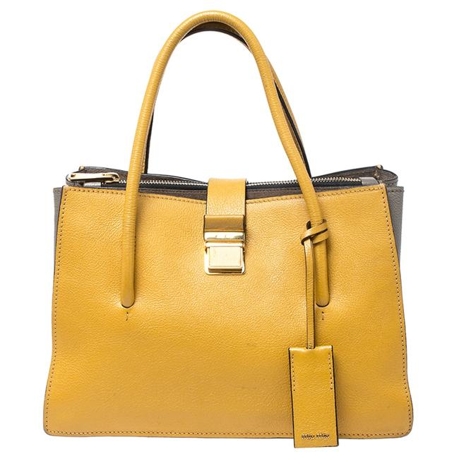Item - Mustard Madras Leather Push Lock Tote