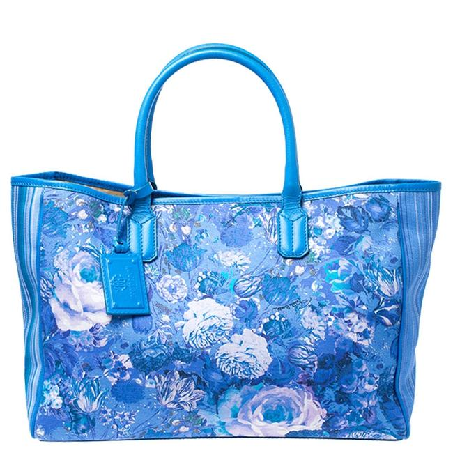 Item - Blue Floral Print Canvas and Leather Tote