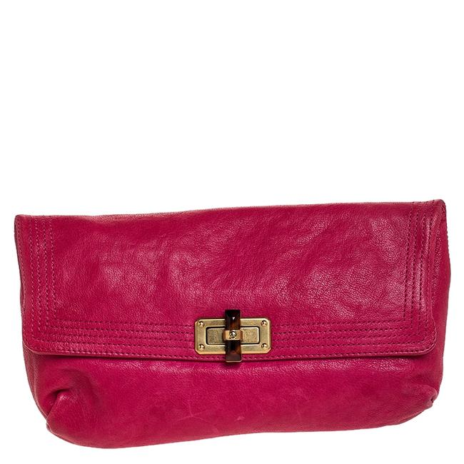 Item - Pink Leather Turnlock Fold Over Clutch