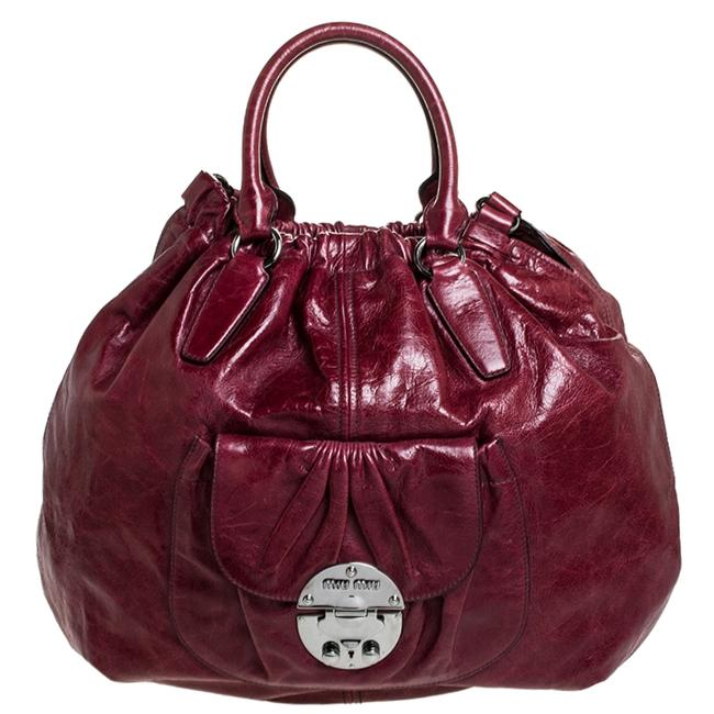 Miu Miu Burgundy Leather Front Pocket Hobo Bag Miu Miu Burgundy Leather Front Pocket Hobo Bag Image 1