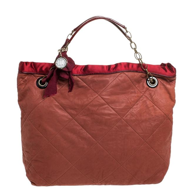 Item - Cabas Rust/Red Leather/Satin and Patent Leather Amalia Tote