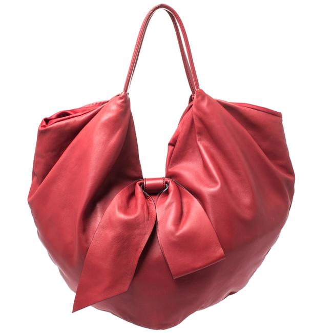 Item - Red Leather 360 Bow Hobo Bag