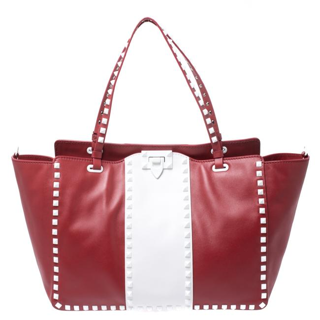 Item - Red/White Leather Rockstud Tote