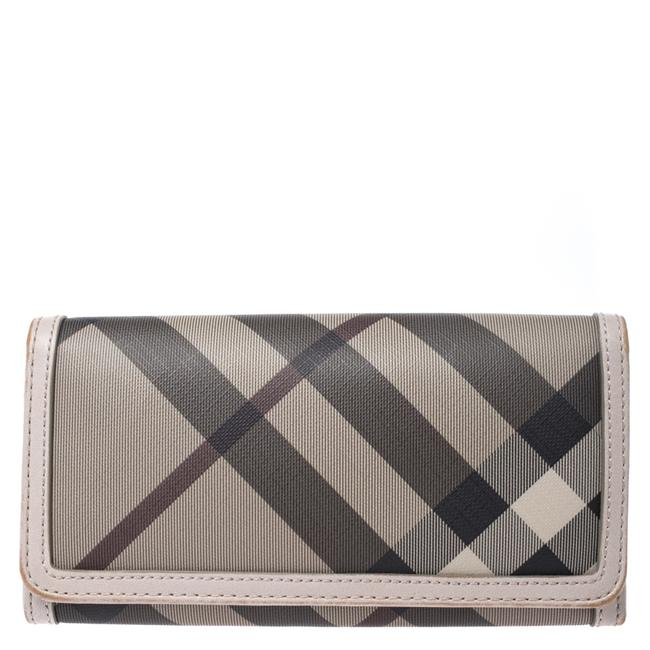 Item - Grey Smoke Check Pvc and Leather Flap Continental Wallet