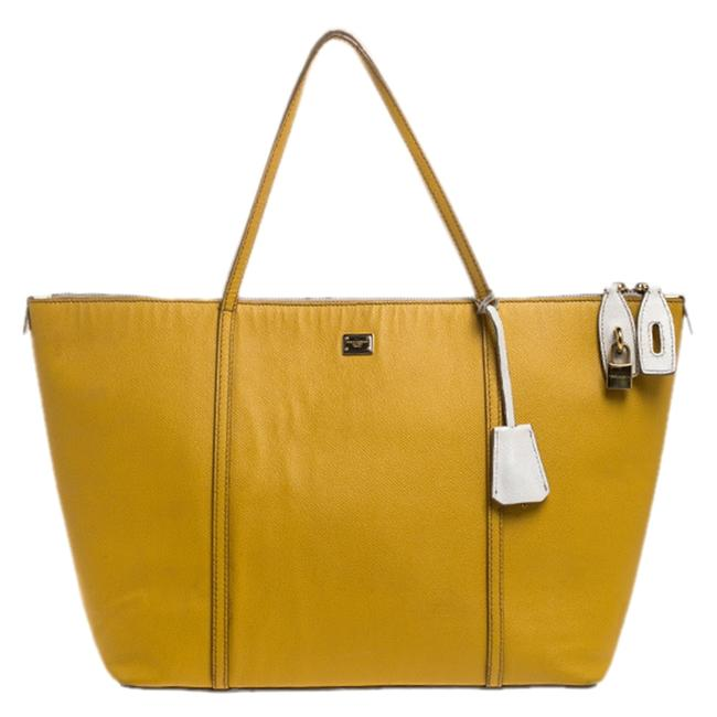 Item - Dolce & Gabbana Yellow/Beige Leather Miss Escape Tote