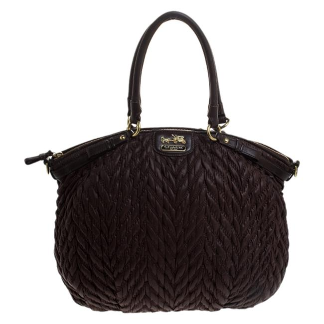 Item - Brown Quilted Nylon and Leather 70th Anniversary Madison Satchel