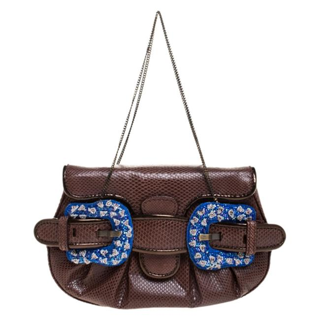 Item - Brown Watersnake and Beads B Bis Chain Clutch