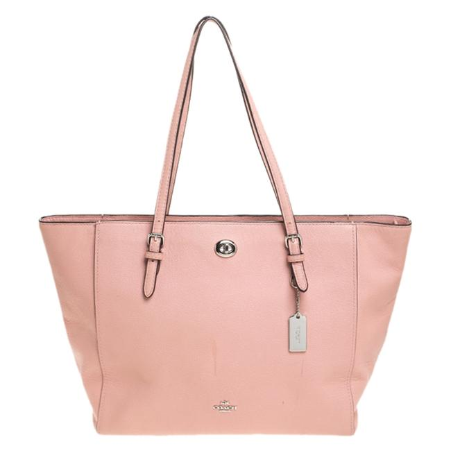 Item - Pink Leather Turnlock Shopper Tote