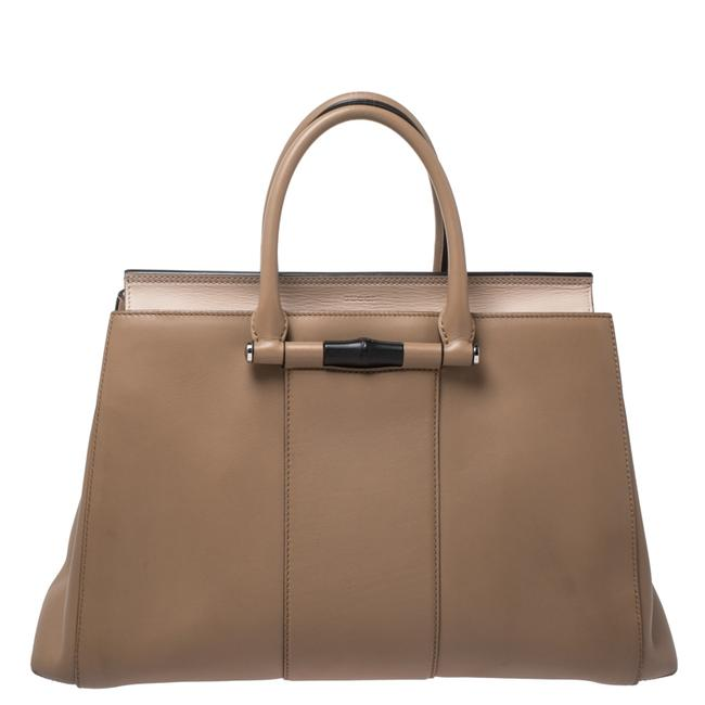 Item - Lady Bamboo Top Handle Bag Leather Wristlet