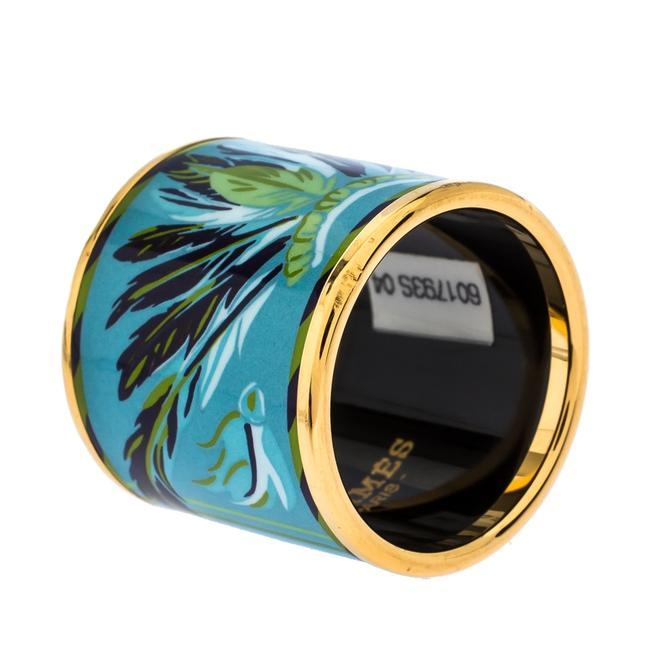 Item - Ring Blue Feather Print Enamel Gold Plated Scarf Tech Accessory