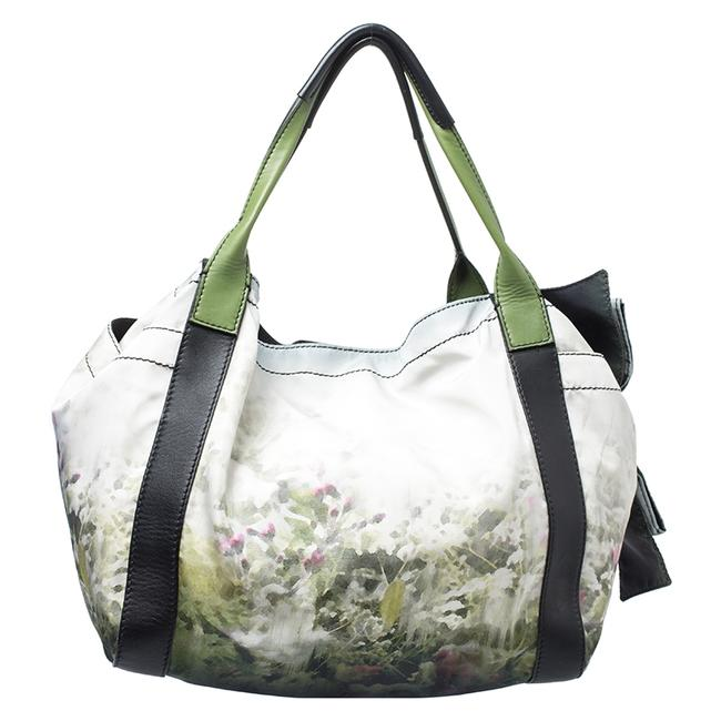 Item - Green/Black Printed Nylon and Leather Double Pocket Bow Tote