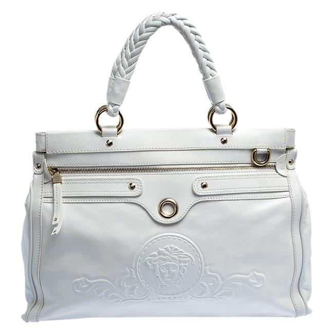 Item - White Leather Logo Embossed Tote