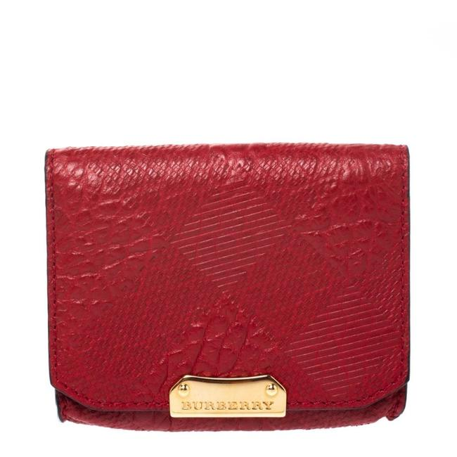 Item - Military Red Textured Leather Business Card Holder Wallet