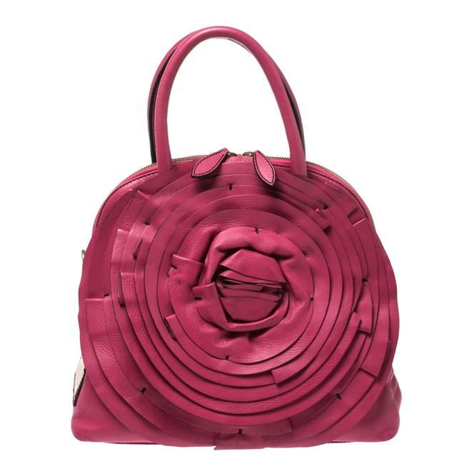 Item - Fuchsia Leather Petale Rose Dome Satchel