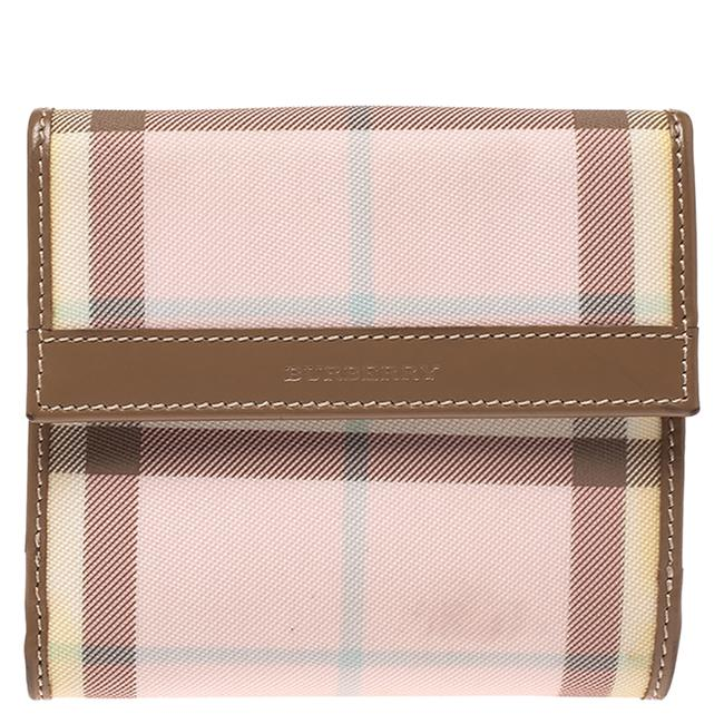 Item - Pink/Brown House Check Pvc and Leather Compact Wallet