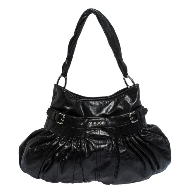 Item - Black Pleated Leather Buckle Hobo Bag